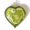 Glass Lamp Pendant Heart 13mm Olivine/Silver
